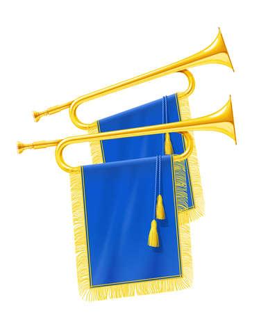 Trompeta de cuerno real dorado con estandarte azul. Instrumento musical para orquesta del rey. Fanfarria Gold Royal para reproducir música. Fondo blanco aislado. Ilustración de vector Eps10. Ilustración de vector