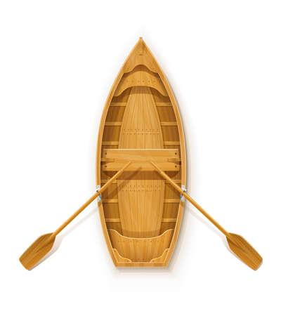 Bateau en bois avec pagaies pour la pêche. Matériel de transport fluvial et maritime. Flotteur nautique avec rame. Fond blanc isolé. Illustration vectorielle EPS10. Vecteurs