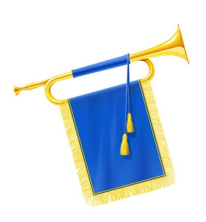 Trompeta de cuerno real dorado con estandarte azul. Instrumento musical para orquesta del rey. Fanfarria Gold Royal para reproducir música. Fondo blanco aislado. Ilustración de vector Eps10.