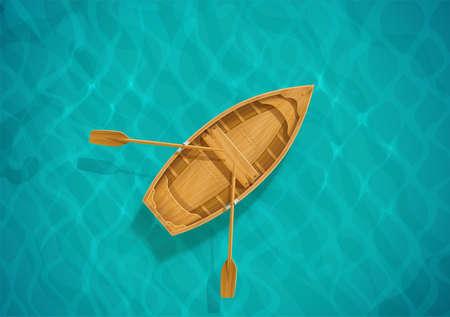 Acqua di mare e barca in legno. Superficie dell'oceano con onda. Veliero. Vista dall'alto. Bacino di acqua blu. Illustrazione vettoriale Eps10. Vettoriali
