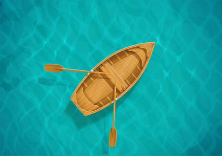 Sea water and wooden boat. Ocean surface with wave. Sailing ship. Top view. Blue aqua basin. EPS10 vector illustration. 向量圖像