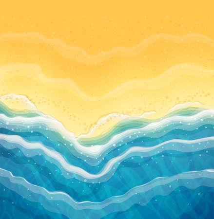 Meereswelle und Sandstrand. Ansicht von oben. Ozean Küste. Reise-Hintergrund. Ruhekonzept für die Sommerzeit. Touristensaison am Meer. EPS10-Vektor-Illustration.
