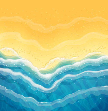 Ola de mar y playa de arena. Vista superior. Costa del océano. Antecedentes de viaje. Concepto de descanso de horario de verano. Temporada turística junto al mar. Ilustración de vector Eps10.