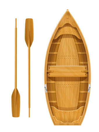 Wooden boat with paddles for fishing. River and marine transportation equipment. Nautical float with oar. Isolated white background. EPS10 vector illustration.