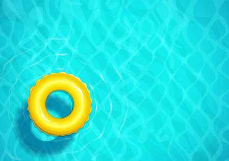 Swimming pool with rubber ring for swim. Sea water. Ocean surface with wave. Top view. Blue aqua basin. Summer time background design EPS10 vector illustration.