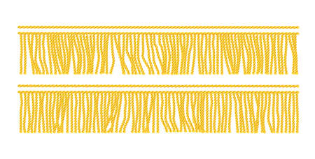 Frange dorée. Élément décoratif sans soudure. Bordure textile. Fond blanc isolé. Illustration vectorielle EPS10.