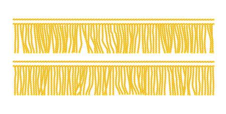 Franja de oro. Elemento decorativo sin costuras. Borde textil. Fondo blanco aislado. Ilustración de vector Eps10.