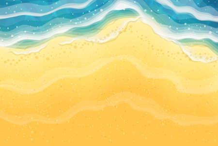Onda del mare e spiaggia di sabbia. Vista dall'alto. Costa oceanica. Sfondo di viaggio. Concetto di riposo estivo. Stagione turistica balneare. Eps10 illustrazione vettoriale.