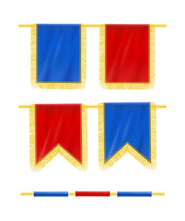 Flag with fringe hang at rod. Decorative royal heraldic element. Ceremonial decoration. Isolated white background. EPS10 vector illustration.