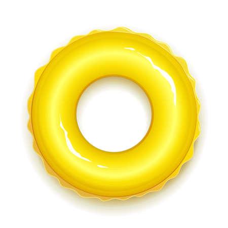 Aro de goma amarillo para nadar en piscina y mar. Símbolo del horario de verano. Juguete de círculo realista. Fondo blanco aislado. Ilustración de vector Eps10. Ilustración de vector