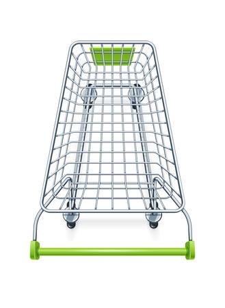 Panier d'achat pour les produits de supermarché. Matériel de magasin. Chariot de marché réaliste. Vue de dessus. Fond blanc isolé. Illustration vectorielle EPS10.