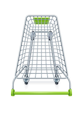 Shopping cart for supermarket products. Shop equipment. Realistic market trolley. Top view. Isolated white background. EPS10 vector illustration.