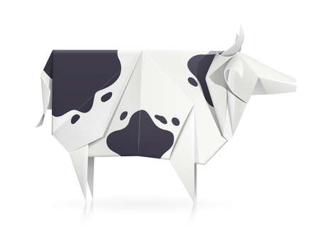 Cow. Paper origami toy. Handmade bull. Handicraft art. Isolated white background. Illustration