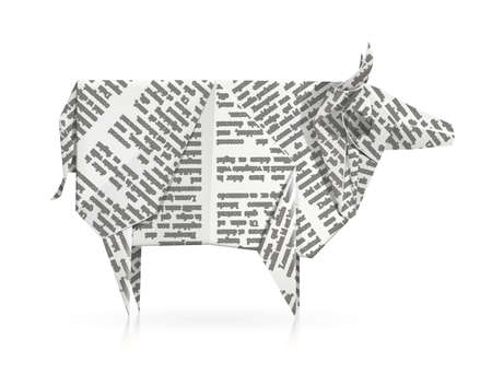 Cow. Paper origami toy. Handmade bull. Handicraft art.  Isolated white background.