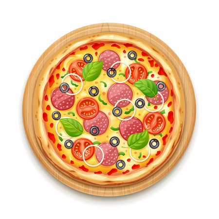 Fresh pizza with tomato, cheese, olive, sausage, onion, basil. Traditional italian fast food. Top view meal at cutting wooden board. European snack. Isolated white background. EPS10 vector illustration.