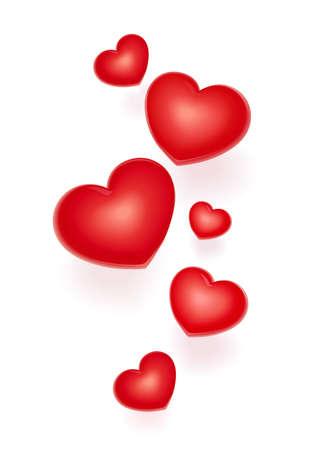 Corazones rojos. Símbolo para el día de San Valentín. Saludo de vacaciones. Ama la tradición. Fondo blanco aislado. Ilustración de vector Eps10.