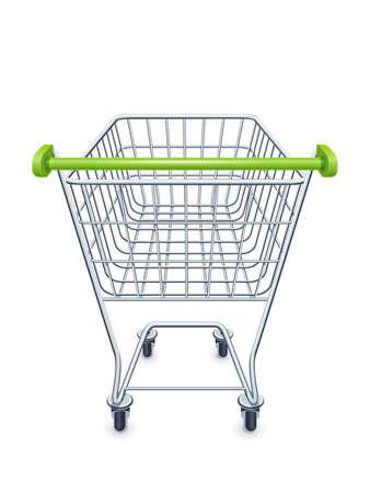 Carrello della spesa per i prodotti del supermercato. Attrezzatura da negozio. Carrello del mercato realistico. Vista laterale. Sfondo bianco isolato. Eps10 illustrazione vettoriale.