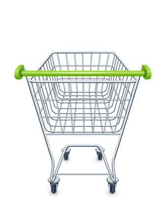 Shopping cart for supermarket products. Shop equipment. Realistic market trolley. Side view. Isolated white background. EPS10 vector illustration. Stock Illustratie