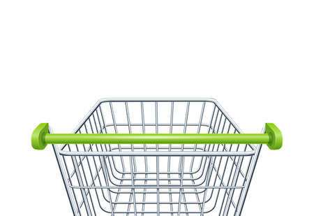 Shopping cart for supermarket products. Shop equipment. Realistic market trolley. Side view. Isolated white background. EPS10 vector illustration. Ilustração