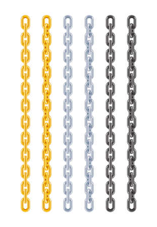 Golden, silver and metallic chain. Decorative jewellery design element. Vector illustration.