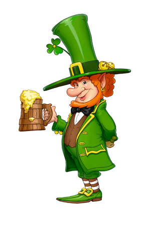 Gnome leprechaun with mug of beer. Fairy-tale irish character for Saint patricks day, isolated white background. 写真素材