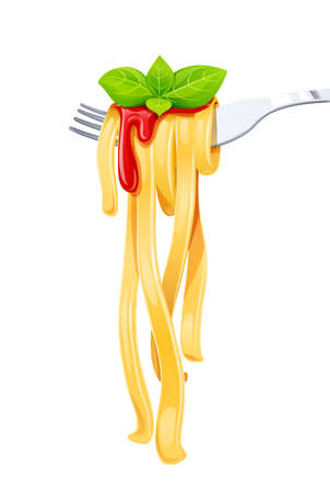 Pasta at fork with basil and sauce. Spaghetti. Organic meal. Traditional italian food. Natural eating. Cooking lunch. Macaroni design. Isolated white background. Eps10 vector illustration.