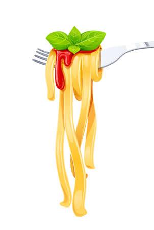 Pasta en el tenedor con albahaca y salsa. Espaguetis. Comida orgánica. Comida tradicional italiana. Alimentación natural. Cocinar el almuerzo. Diseño de macarrones. Fondo blanco aislado. Ilustración de vector Eps10.