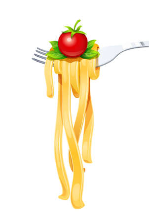Pasta at fork with basil and tomato. Spaghetti. Organic meal. Traditional italian food. Natural eating. Cooking lunch. Macaroni design. Isolated white background. Eps10 vector illustration. Illustration