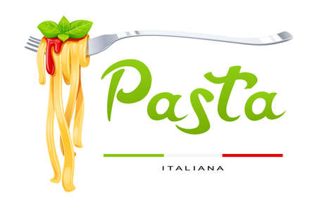 Pasta at fork with basil and sauce. Concept for traditional italian food. Spaghetti. Organic meal. Natural eating. Cooking lunch. Macaroni design. Isolated white background. Eps10 vector illustration.