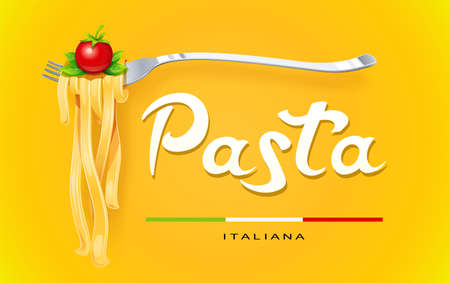 Pasta at fork with basil and tomato. Concept for traditional italian food. Spaghetti. Organic meal. Natural eating. Cooking lunch. Macaroni design. Yellow Isolated white background. Eps10 vector illustration.