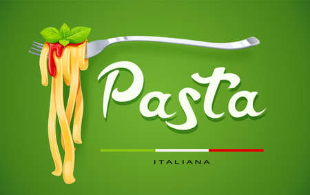 Pasta at fork with basil and sauce. Concept for traditional italian food. Spaghetti. Organic meal. Natural eating. Cooking lunch. Macaroni design. Green background. Eps10 vector illustration.