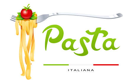 Pasta at fork with basil and tomato. Concept for traditional italian food. Spaghetti. Organic meal. Natural eating. Cooking lunch. Macaroni design. Isolated white background. Eps10 vector illustration
