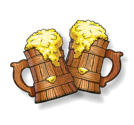 Two Wooden beer cup. Brewery party. Ale mug. Pub design. Drunk bar. Happy hour. Eps10 vector illustration.