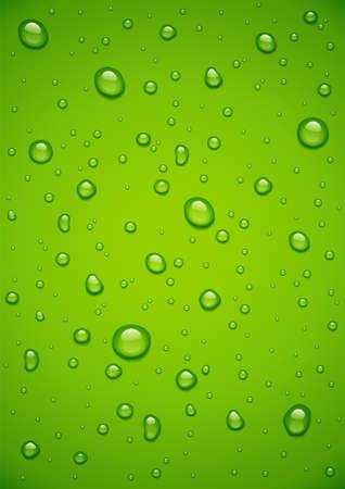 Wassertropfen am grünen Hintergrund. Tropfenspray auf Glas. Aqua-Blase-Tapete. Eps10-Vektor-Illustration.