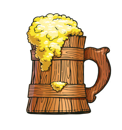 Wooden beer cup. Brewery party. Ale mug. Pub utensil. Drunk bar. Happy hour. Eps10 vector illustration. 矢量图像