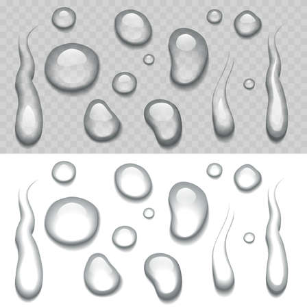 Water drop on transparent and white background. Illustration