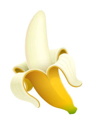 Ripe banana. Tropical purified fruit Isolated white background. Illustration