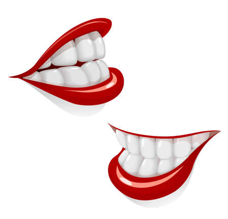 Cartoon mouth with smile. White tooth. Red lip. Dental health. Face Part. Isolated white background. Stomatology. Eps10 vector illustration.