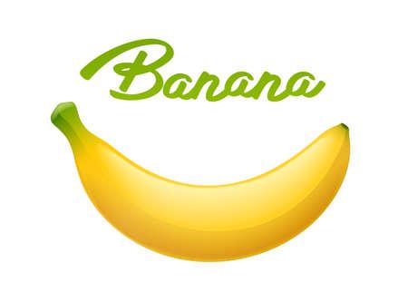 Banana matura. Frutta tropicale. Prodotto biologico naturale. Cibo salutare. Pasto estivo. Sfondo bianco isolato. Eps10 illustrazione vettoriale. Vettoriali