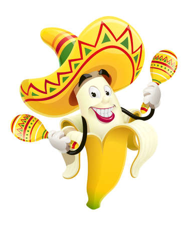 Ripe banana with maracas. Tropical fruit. Cinco de Mayo Mexico holiday. Isolated white background. Ilustrace