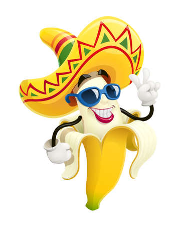 Ripe banana. Tropical purified fruit. Smiling Cartoon character show victory gesture. Isolated white background. Eps10 vector illustration.