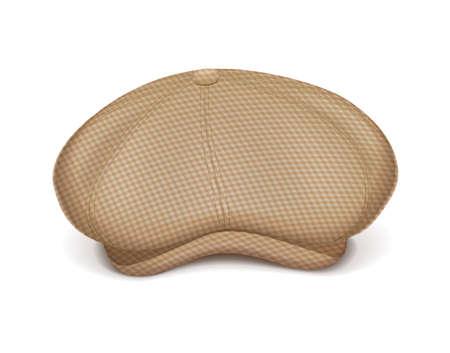 Flache Schirmmütze. Klassischer männlicher Kopfhut. Stilvolle Tweed-Kopfbedeckung. Herren tragen. Sicht. Isolierter weißer Hintergrund. Eps10-Vektor-Illustration.