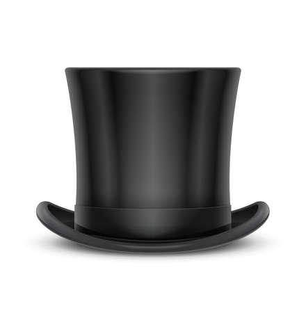 Cappello a cilindro classico vintage. Elegante copricapo a cilindro per gentiluomo. Accessorio di usura retrò. Moda maschile. Vestiti alla moda. Sfondo bianco isolato. Eps10 illustrazione vettoriale. Vettoriali