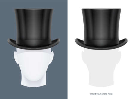 Mannequin heads with vintage classic top hat Illustration