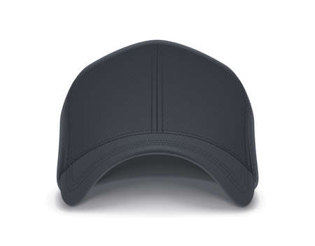 Gorra de beisbol. Sombrero de hombre. Diseño de ropa. Ropa de moda. Ropa deportiva. Ver sombrero. Look de moda. Fondo blanco aislado. Ilustración de vector Eps10.