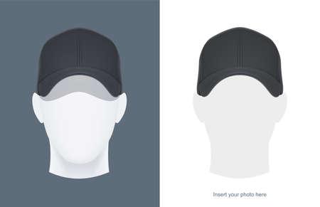 Baseballmütze am Kopf Mannequin. Mann Avatar in Kopfbedeckung. Kleidungsdesign. Trendige Kleidung. Sportkleidung. Hut ansehen. Gesichtsausdruck. Isolierter weißer Hintergrund. Eps10-Vektor-Illustration.