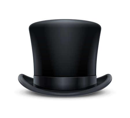 Chapeau haut de forme classique vintage. Couvre-chef élégant pour gentleman. Accessoire d'usure rétro. Mode masculine. Vêtements à la mode. Fond blanc isolé. Illustration vectorielle Eps10. Vecteurs