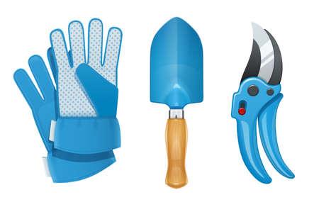 Garden tool for gardening work. Glove, shovel, pruner. For kitchen garden. Agriculture implement. Isolated white background. Eps10 vector illustration. Stock fotó - 125089189