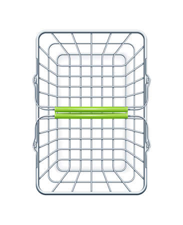 Shopping basket for supermarket products. Shop equipment. Realistic market bag . Top view. Isolated white background. Eps10 vector illustration.