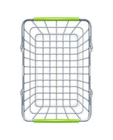 Shopping basket for supermarket products. Shop equipment. Realistic market bag. Top view. Isolated white background. Eps10 vector illustration.